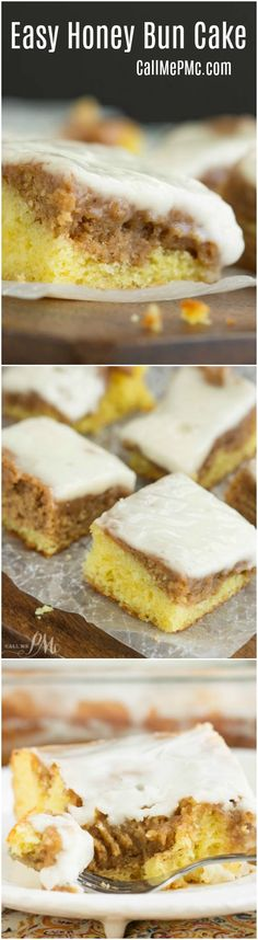 Easy Honey Bun Cake has a buttery yellow cake layer, topped with a cinnamon roll filling top layer. A vanilla glaze then  smothers the entire cake with sweetness. This is an easy way to enjoy cinnamon rolls without the wait time of yeast rising.