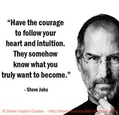 Have the courage to follow your heart and intution, They somehow know what you truly want to become. ~Steve Jobs | Share Inspire Quotes - Inspiring Quotes | Love Quotes | Funny Quotes | Quotes about Life