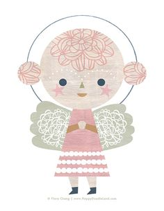 Lace Angel print by Flora Chang   Happy Doodle Land