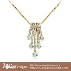 migodesigns vintage zinc alloy women necklace 18k gold plated Austria AAA CZ diamond necklaces pendants