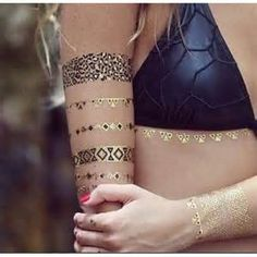 women's black and goldl armband tattoosFlash Tattoos‍♀️ Metallic‍♀️More Pins Like This At FOSTERGINGER @ Pinterest ‍♀️