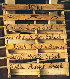 Rugged + Elegant Wyoming Wedding: Faith + Kevin - wood palette menu
