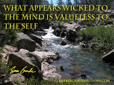 What appears wicked to the mind is valueless to the Self