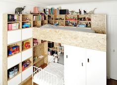 Great idea on small space kids room. Would be easy DIY. If you dont need bunks, the top could be a play area/reading nook while bed is on bottom or make the bottom a computer/video game area with top being a bed.