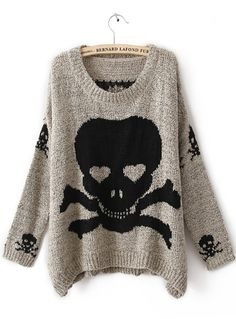 Grey Long Sleeve Skull Print Pullovers Sweater