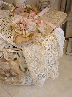 i love little lace filled basket