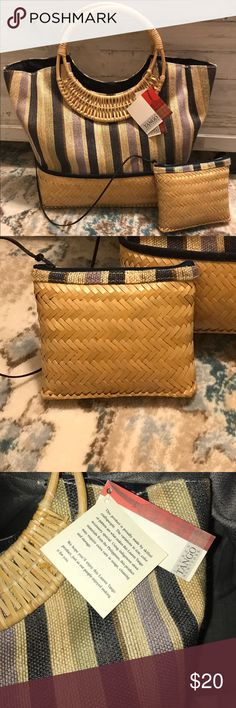 Vintage Basket Weave Handbag Vintage basket handbag.  Cute and trendy for summer!  New with tags.  Crafted from indigenous straw materials from the Philippines. Perfect for the beach, park or a picnic! Lauren Tango Bags Totes