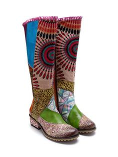 615cb6ce7ccd Casual vintage ethnic style leather Handmade overknee boots