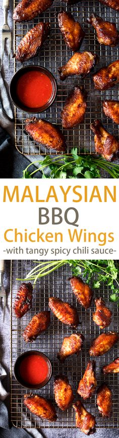Smoky, savory BBQ chicken wings with a tangy, spicy chili sauce. Grilled over charcoal or roasted in the oven, these wing-asm in your mouth wings are perfect for summer.
