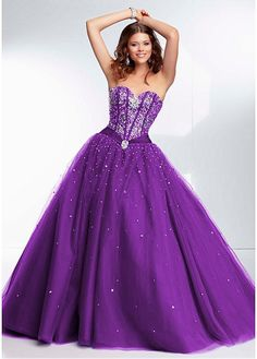 Exquisite Sweetheart Neckline Purple Tulle Ball Gown Floor Length Quinceanera Dresses With Crystals at sweetdressale.com