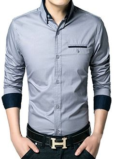 APTRO Men's Cotton Blend Business Slim Casual Long Sleeve Dress Shirt #11 Grey US XS(Tag L) APTRO http://www.amazon.com/dp/B0195WAHKQ/ref=cm_sw_r_pi_dp_H-JAwb06FM9FK