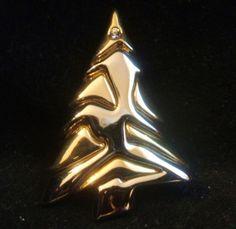 Vintage Liz Claiborne Gold Silver Tone and Rhinestone Christmas Tree Pin Brooch #LizClaiborne