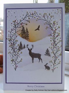 Card Io / Majestix / Tapestry Crafty Salutations: A bit of an adventure and my favourite 5 Christmas cards Xmas Cards Handmade, Stamped Christmas Cards, Homemade Christmas Cards, Christmas Cards To Make, Christmas Deer, Handmade Christmas, Homemade Cards, Holiday Cards, Christmas Crafts