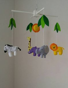 Safari Baby Mobile Jungle Nursery Colorful Musical