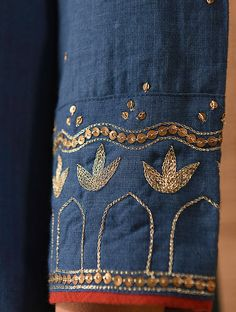ZAARA - Indigo Natural-dyed Handloom Cotton Kurta with Hand Embroidery Embroidery Suits Punjabi, Zardozi Embroidery, Embroidery On Kurtis, Embroidery Online, Hand Embroidery Dress, Kurti Embroidery Design, Bead Embroidery Patterns, Hand Embroidery Stitches, Hand Embroidery Designs