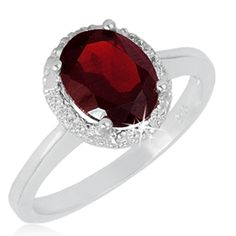 $24.99 - 2 Carat Garnet and 0.04 Carat Diamond Ring in Sterling Silver
