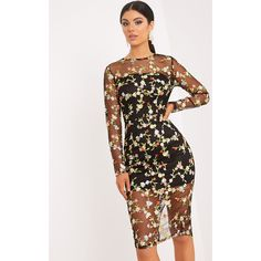 Ireenah Black Embroidered Floral Sheer Lace Midi Dress ($49) ❤ liked on Polyvore featuring dresses, black, transparent dress, flower print dress, sheer midi dress, sheer lace dresses and mid calf dresses