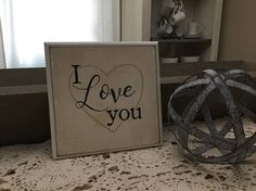 I love you 6x6 wooden sign