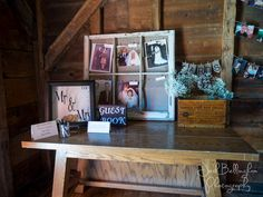 Detail picture of a receiving table at a wedding in Niagara On The Lake. Great photo showing the rustic wood interior of Navy Hall. #JoshBellinghamPhotography