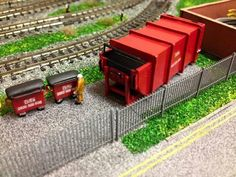 Custom made N gauge waste compactor and bins N Scale Trains, Outdoor Furniture Sets, Outdoor Decor, Model Trains, Home Decor, Electric Train, Decoration Home, Room Decor, Home Interior Design