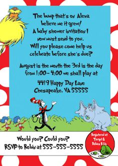 Dr Suess Baby Shower Invites Is The Newest And Best Concepts Of