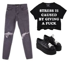 """Stress is caused by giving a f**k"" by the-black-unic0rn on Polyvore featuring women's clothing, women, female, woman, misses and juniors"