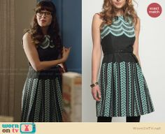 Jess's grey dress with blue embroidery on New Girl. Outfit Details: http://wornontv.net/28450 #NewGirl #fashion