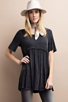 Mineral washed knit tunic