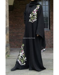 Impeccably designed & tailored by Abayas Boutique. Ideal for those summer gatherings in this airy new material. Abaya Designs Latest, Abaya Fashion, Abayas, Party Wear Dresses, Caftans, Hijab Outfit, Lily, Couture, Embroidery