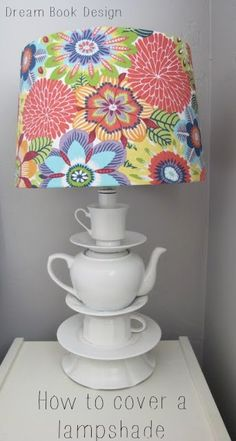 A great tutorial for how to cover a lampshade by Dream Book Design