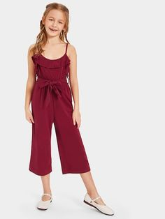 To find out about the Girls Ruffle Trim Belted Wide Leg Cami Jumpsuit at SHEIN, part of our latest Girls Jumpsuits ready to shop online today! Girls Fashion Clothes, Kids Fashion, Kids Outfits, Cute Outfits, Jumpsuits For Girls, Sweatshirt Dress, Ruffle Trim, Fashion News, Cami
