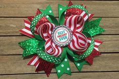 Items similar to Christmas Hair Bow Best Present Ever 5 inch Boutique Hair Bow on Etsy Christmas Hair Bows, Green Christmas, Christmas Snowman, Christmas Wreaths, Christmas Ornaments, Green Santa, Knitted Pouf, Pink Hair Bows, Bow Design