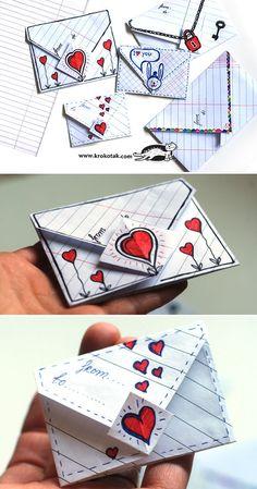 Enveloppe pour la Saint-Valentin (origami)