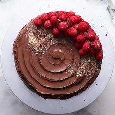 Here's what you need: chocolate hazelnut spread, graham crackers, instant chocolate pudding, milk, cream cheese, sugar, vanilla, chocolate, chocolate frosting, raspberry, graham cracker crumb, chocolate shaving