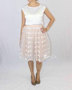 Babette Beige Polka Dot Tulle Skirt - Midi