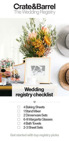 Ready to start creating your dream registry but not sure where to start? Our registry experts have put together this handy, go-to list of everything you'll want to consider for your registry. Plan your new home, envision your new life together and start c Wedding Tips, Our Wedding, Wedding Planning, Dream Wedding, Wedding Reception, Wedding Stuff, Wedding Table Centerpieces, Wedding Decorations, Wedding Registry Checklist