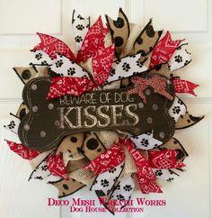 Dog Wreath, Dog House Wreath, Pet Wreath, Burlap Dog Wreath, Small Wreath, Dog House, by DecoMeshWreathWorks on Etsy