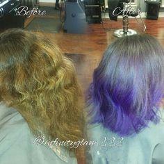 Before & after HAIR BY IG: @INFINITYGLAM222  #BALAYAGE #TRACYSALON #HAIR #HIGHLIGHTS #BLONDEHAIR #CARAMELHIGHLIGHTS #BROWNCHOCOLATEHAIR #LIGHTHAIR #HAIRSTYLE #WAVECURLS #LOOSECURLS #purplebalayage #purplehair