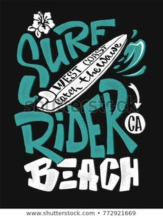 Surf rider print t-shirt graphic design vector image on VectorStock