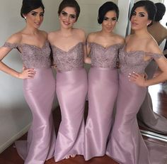 Tight prom dress,Sexy dress,Off The Shoulder Mermaid Custom Made Bridesmaid Dresses