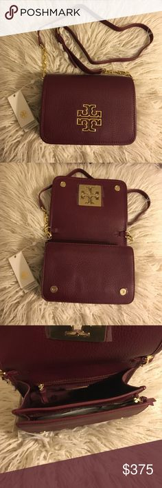 "Tory Burch Britten Combo Crossbody NWT Tory Burch Britten Combo Crossbody! Color is burgundy!  The design can be worn over the shoulder or across the body or carried as a clutch.  Pebbled leather Flap with magnetic snap closure Flat leather-and-chain adjustable, removable cross-body strap 1 interior zipper pocket, 2 interior open pockets Height: 5.98""  Length: 8.37""  Depth: 2.51""  No trades No lowballing ✅Bundle Discount  Authentic items  ✨purchase at listed price get a free gift✨ Tory Burch…"