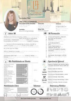 #Cv ana utrilla interiorista decoradora #Interiorista en (Valladolid, Madrid, etc) Diseño y #Decoración de Interiores, Proyectos de Reforma, Decoración. Info@anautrilla.com Graphic Design Cv, Cv Design, Resume Design, Branding Design, Creative Resume, Creative Design, Creative Ideas, Architectural Cv, Architecture Portfolio Layout