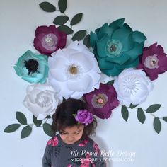 A personal favorite from my Etsy shop https://www.etsy.com/listing/497850300/paper-flowers-in-purpletealwhite-girls