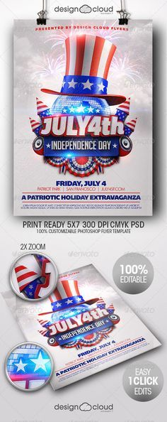 July 4 Independence Day Minimal Flyer Template Flyer template - independence day flyer
