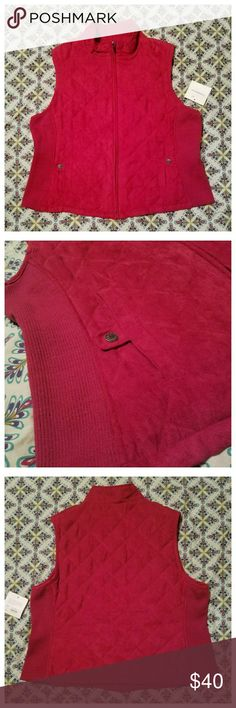 🍁HP NWT Red Quilted Sweater Vest Gorgeous color. 2 front pockets. Knit elastic sides for roomier fit. croft & barrow Jackets & Coats Vests