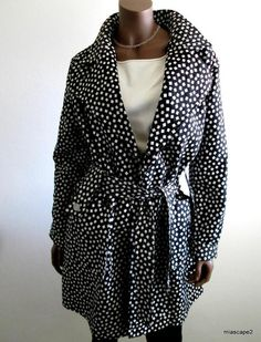 ARMANI Collezioni Trench Jacket  AUTH Black/White Adorable Coat ITALY M 8 10 I44