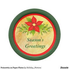 Poinsettia on Paper Plates 7 Inch Paper Plate