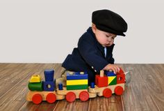 Baby Boy Pictures - Baby & a Train - 6 Months Old - Baby Images - Baby Photos