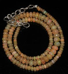 "48 CRT 3-6 MM 16"" STRAND NATURAL ETHIOPIAN WELO FIRE OPAL  BEADS NECKLACE- 64837"