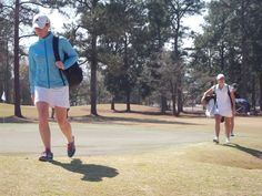 Head Coach Kory Thompson (left) and Duschek-Hansen walking off number nine at Forest Hills